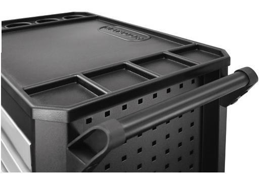 Stabile Arbeitsplatte aus ABS mit Schutzkante gegen Wegrollen.