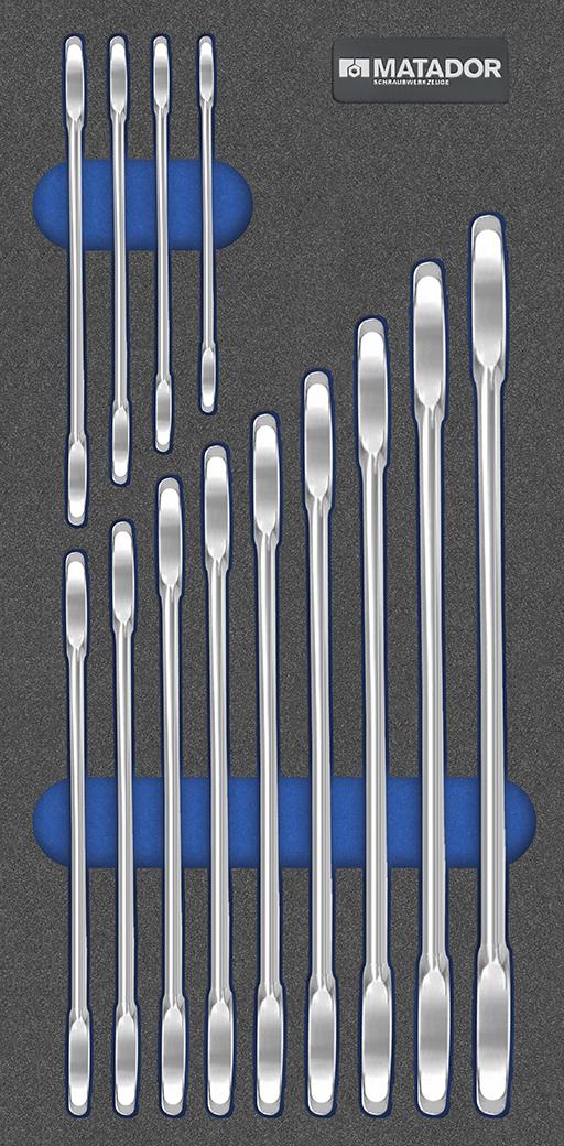 Die wichtigsten Doppelmaulschlüssel aus Chrom-Vanadium von 6-32 mm in einem Satz