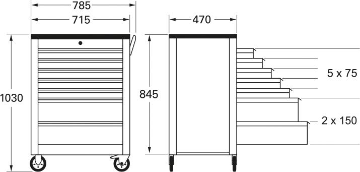 Außenmaße: 1030 (H) x 785 (B) x 470 (T).