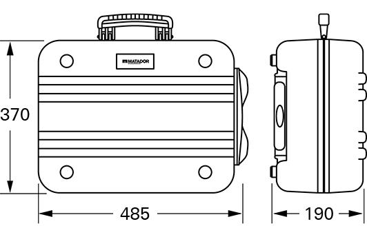Außenmaße: 370 (h) x 485 (b) x 190 (t)