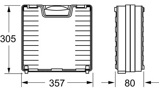Außenmaße: 305 (h) x 357 (b) x 80 (t)