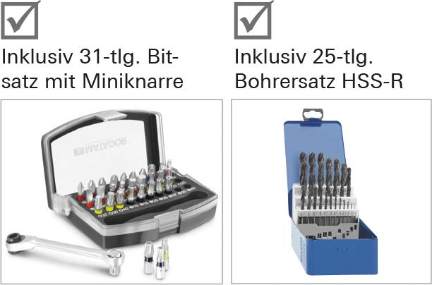 Inklusiv 31-tlg. Bitsatz mit Miniknarre und 25-tlg. Bohrersatz HSS-R.