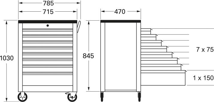 Außenmaße: 1030 (h) x 785 (b) x 470 (t)