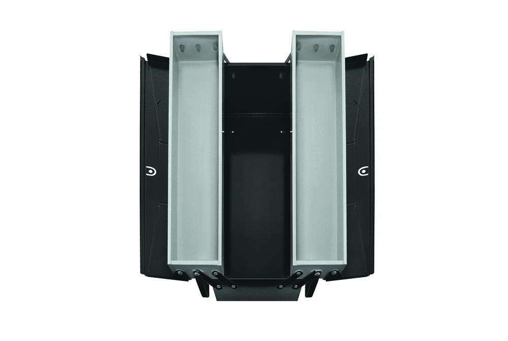Alle Werkzeuge sind im stabilen und praktischem 3-tlg. Stahlblechkasten sicher verstaut.