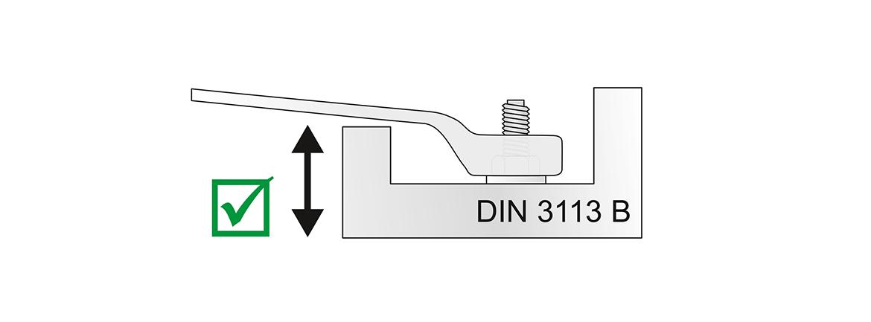 Mit gekröpfter Ringseite nach DIN 3113 B.