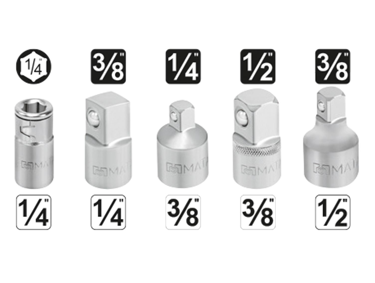 Alle wichtigen Steckschlüssel-Adapter in einem Satz.
