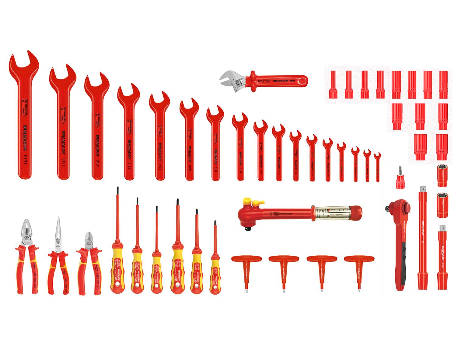 Werkzeugsatz für Hybrid- und Elektrofahrzeuge mit über 50 Werkzeugen.