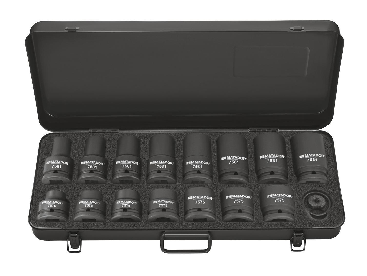 Kraft-Steckschlüsselsatz im stabilen Stahlblechkasten.