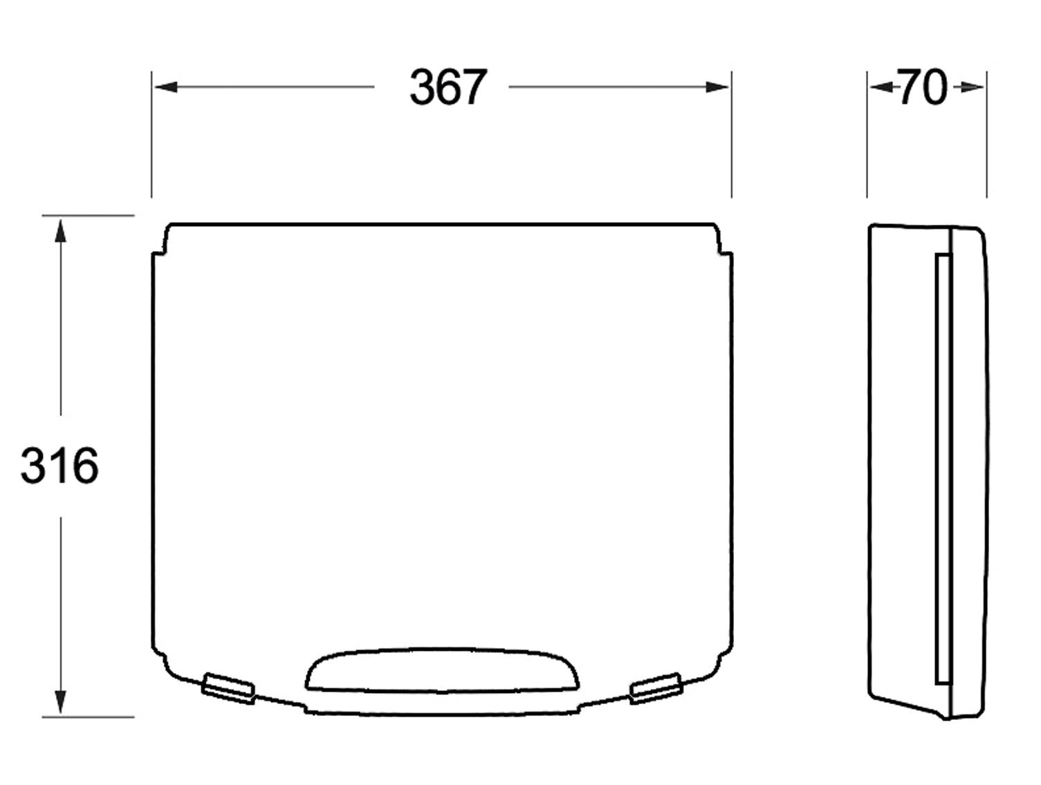 Außenmaße (B x T x H): 367 x 316 x 72 mm.