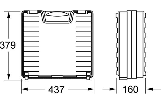 Außenmaße: 379 (h) x 437 (b) x 160 (t)